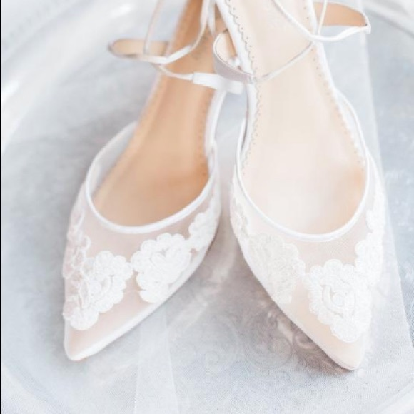 Lace Wedding Shoes.Bella Belle Amelia Kitten Heel Lace Wedding Shoes Nwt